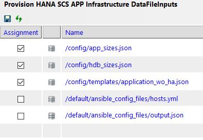 Provision HANA Infrastructure DataFileInputs