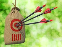 ROI - Three Arrows Hit in Red Target on a Hanging Sack on Natural Bokeh Background..jpeg