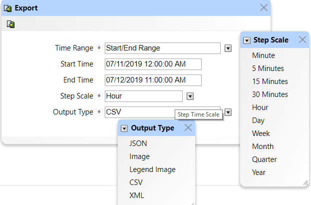 IT-Conductor Selecting the Time range, Scale and Output Type