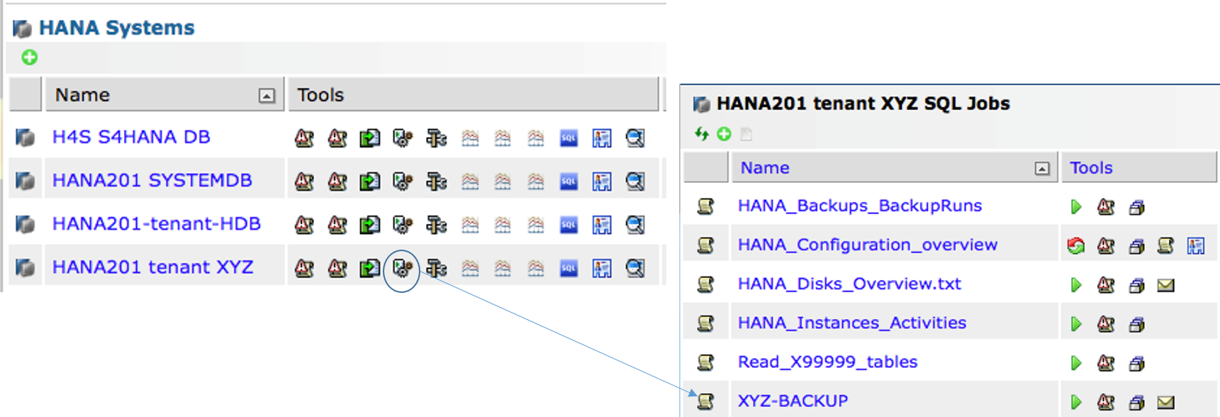 IT-Conductor SAP Basis Automation HANA Backup Create SQL Job