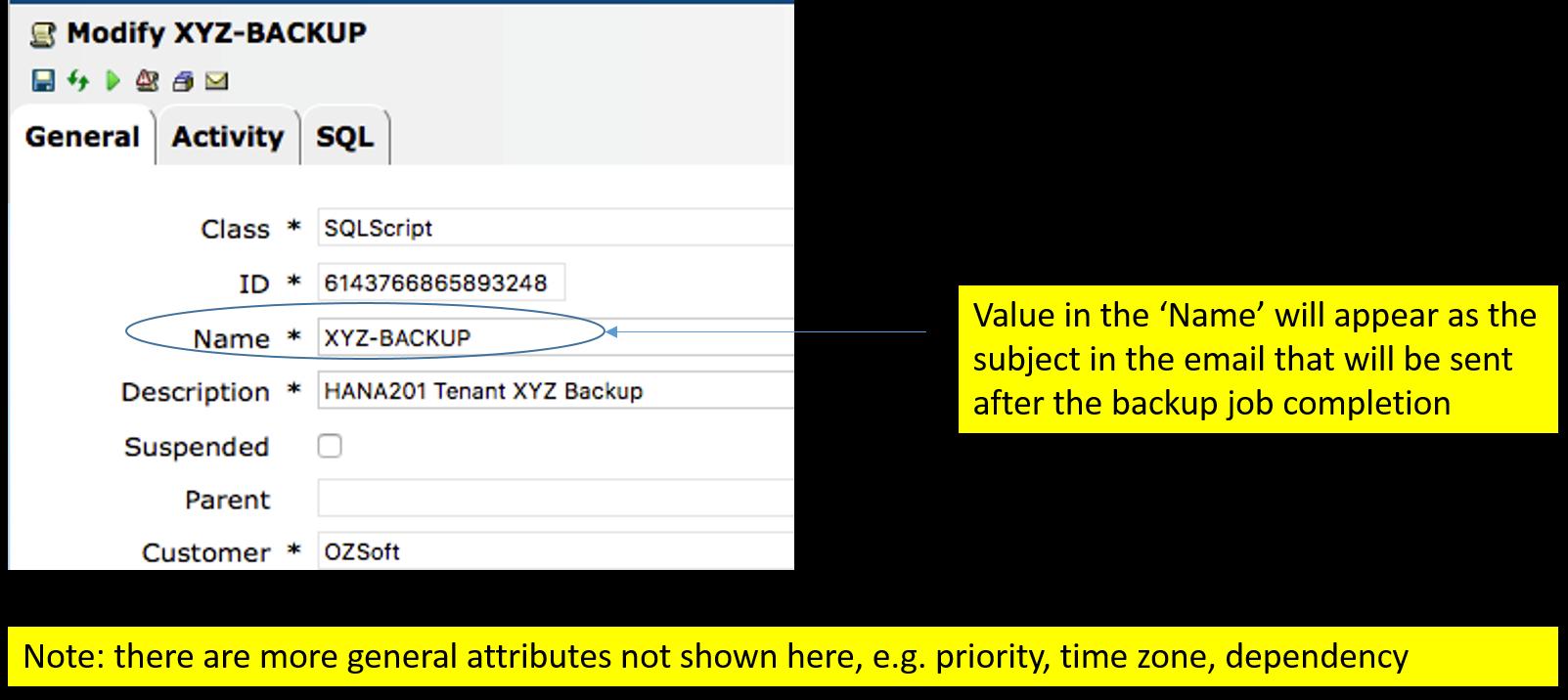 IT-Conductor SAP Basis Automation HANA Backup Create SQL Job - General Section