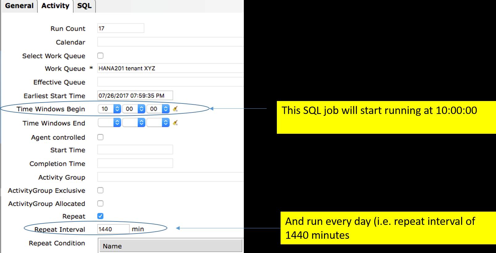 IT-Conductor SAP Basis Automation HANA Backup Create SQL Job - Activity 1