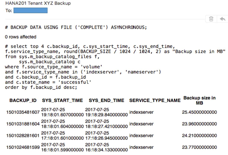 IT-Conductor SAP Basis Automation HANA Backup Create SQL Job - Notification