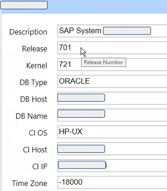 IT-Conductor SAP System Information Oracle