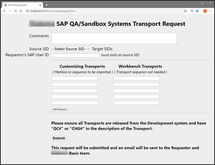 SAP Change Request Webform